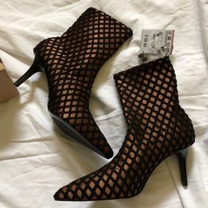 Zara Fishnet Ankle Boots
